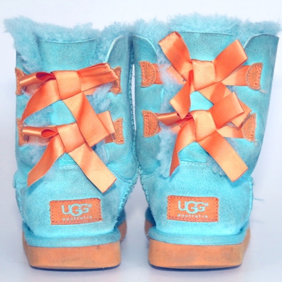 UGG BAILEY BOW 3280K BABY BLUE/ORANGE-SIZE1 YOUTH